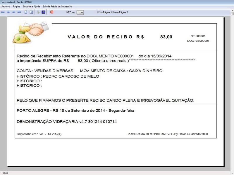 TELA DO PROGRAMA OS VIDRAÇARIA 4.7